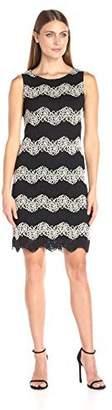 Tiana B T I A N A B. Women's Sleeveless Wave Two Tone Lace Shift Dress Black/Taupe 8