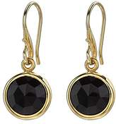 Dower & Hall Jewel 18ct Yellow Gold Plated Faceted Round 10mm Green Onyx Drop Earrings