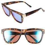 Le Specs Women's 57Mm Flat Top Sunglasses - Matte Tortoise/ Blue Mirror