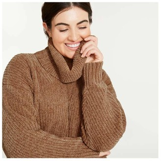 Joe Fresh Women+ Cowl Neck Sweater, JF Black (Size 2X)