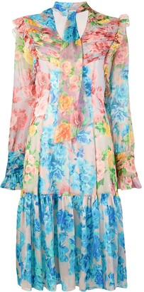 Blumarine Floral Ruffle Dress