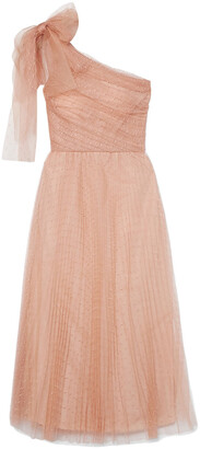 RED Valentino One-shoulder Pleated Point D'esprit Tulle Midi Dress