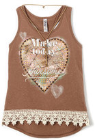 Beautees Brown 'Make Today Awesome' Tank & Necklace - Girls