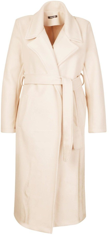 Thumbnail for your product : boohoo Plus Oversized Self Belted Long Coat