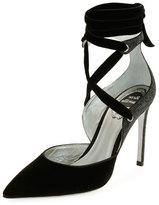 Rene Caovilla Velvet Crisscross Ankle-Wrap Pump, Black Pattern