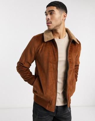 Burton Menswear cord jacket with borg collar in tan