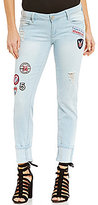 YMI Jeanswear Patch Destruction Mega Cuff Woven Stretch Skinny Ankle Jeans