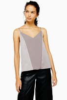 Topshop Womens Charcoal Grey Panel Front Cami - Charcoal