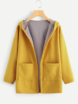 Shein Contrast Lining Drop Shoulder Hooded Coat