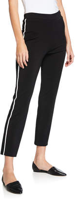 St. John Matte Jersey Capri Pants w/ Contrast Knit Side