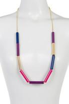 Trina Turk Sliding Multicolor Tube Bead Frontal Necklace