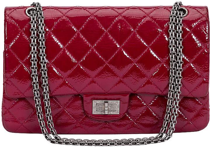 One Kings Lane Vintage Chanel Burgundy Patent Jumbo Bag - Vintage Lux