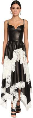 Alexander McQueen ASYMMETRIC LEATHER & LACE MIDI DRESS