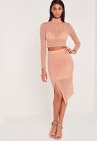 Missguided Carli Bybel Airtex Wrap Midi Skirt Pink