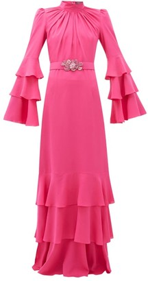 Andrew Gn Gathered-neck Belted Silk-crepe Gown - Womens - Pink