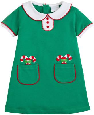 Little English Girl's Candy Cane Short-Sleeve Dress, Size 18M-8