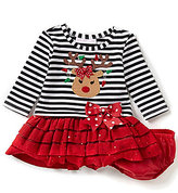 Bonnie Jean Bonnie Baby Girls Newborn-24 Months Striped/Solid Christmas Reindeer-Appliqued Dress
