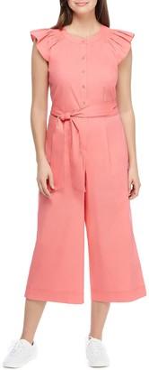 Gal Meets Glam Saffron Flutter Sleeve Crop Jumpsuit