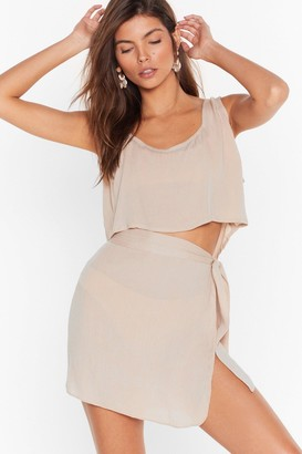 Nasty Gal Womens Beach Please Cover-Up Crop Top and Skirt Set - White - 6, White