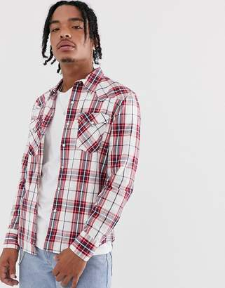 Levi's barstow western long sleeve check shirt-Red