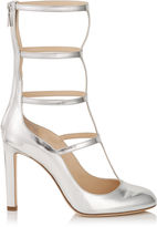 Jimmy Choo DUNDEE 100 Silver Mirror Leather Caged Round Toe Pumps