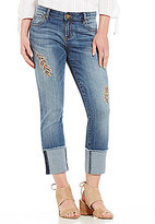 KUT from the Kloth Cameron Feather Embroidered Straight Leg Jeans