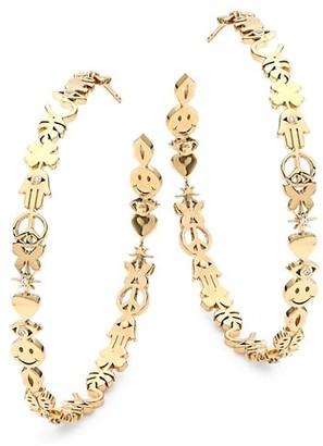 Sydney Evan 14K Yellow Gold & Diamond Large Icon Hoop Earrings