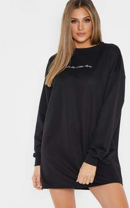 PrettyLittleThing Tall Black Embroidered Jumper Dress