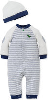 Little Me 2-Pc. Hat & Striped Dino Coverall Set, Baby Boys (0-24 months)