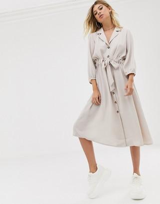 Asos Design DESIGN button through midi shirt dress with ruched waist-Cream