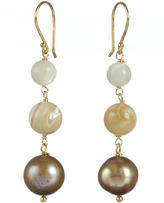 Mother of Pearl Lita Gold Plated Sterling Silver and Freshwater Pearl Drop Earrings