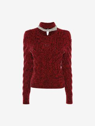 Alexander McQueen Crystal Rope Cable Knit Jumper