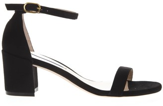 Stuart Weitzman Black Suede Open Toe Sandals