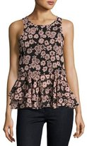 Milly Floral-Print Ruffle-Hem Tank, Light Pink