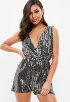 Missguided Silver V Front Sequin Romper