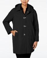 London Fog Plus Size Clip-Front Hooded Raincoat