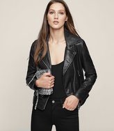 Reiss New Collection Ally Leather Biker Jacket