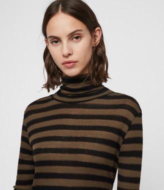 AllSaints Esme Shimmer Stripe Roll Neck Top
