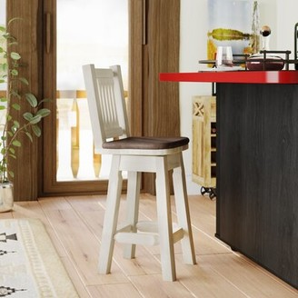 """Abella Swivel 24"""" Counter Stool Loon Peak Upholstery: Saddle, Finish: Stain and Lacquer"""