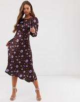 Ghost Rosaleen floral print long sleeve satin midi dress