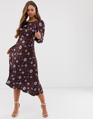 Ghost Rosaleen floral print long sleeve satin midi dress-Multi