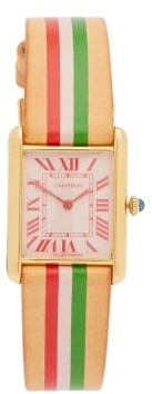 La Californienne Vintage Cartier Tank 18kt Gold-plated Watch - Green Red