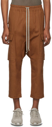 Rick Owens Brown Cropped Drawstring Cargo Trousers