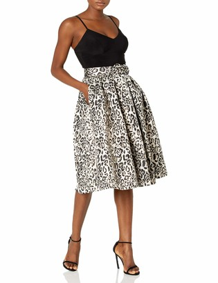 Eliza J Women's Spaghetti Strap ITY TOP with Animal Print Party Skirt Dress