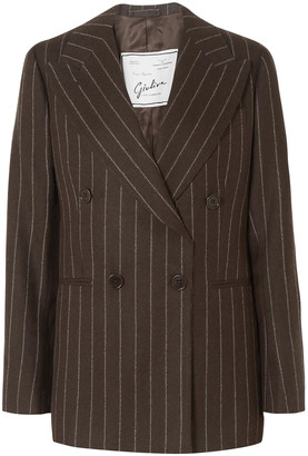 Giuliva Heritage Collection Stella Double-breasted Pinstriped Wool Blazer