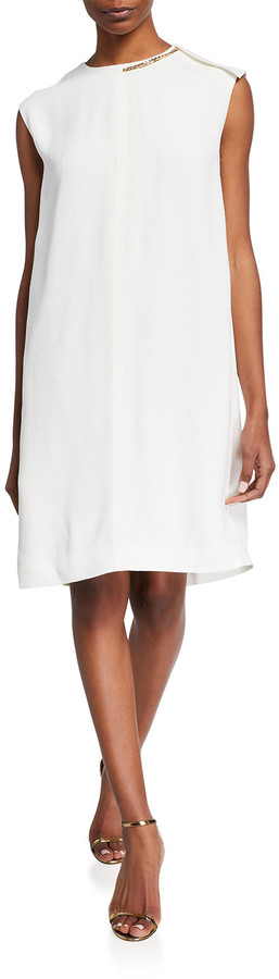 Thumbnail for your product : Victoria Beckham Solid Sleeveless Shift Dress w/ Chain Detail