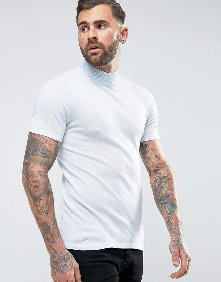 Asos Knitted Short Sleeve Turtle Neck In Muscle Fit In Pale Blue