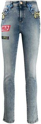 Versace Barocco-detail skinny jeans