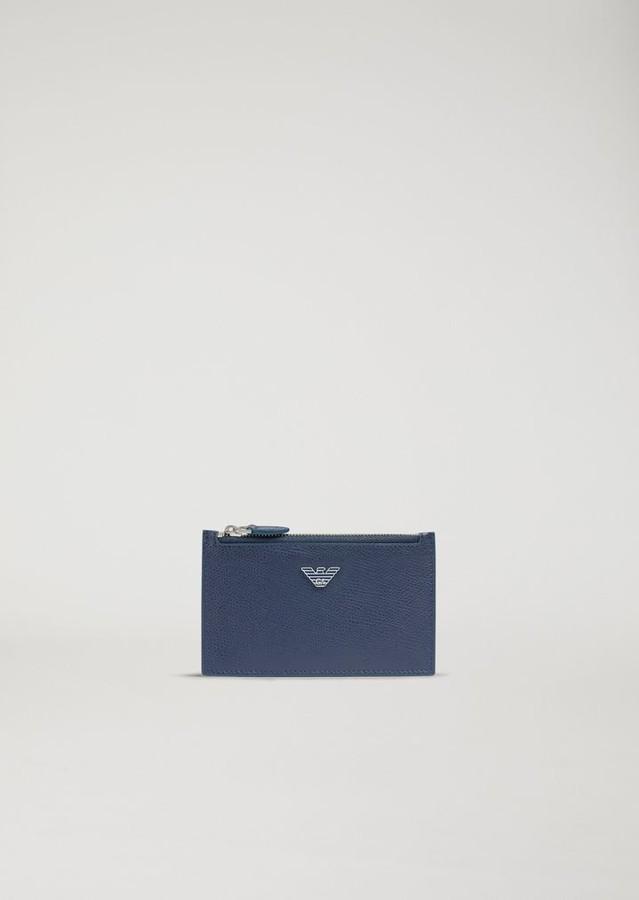Emporio Armani Card Holder In Boarded Leather