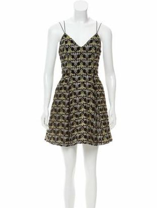 Alice + Olivia Velvet-Accented Dress Black